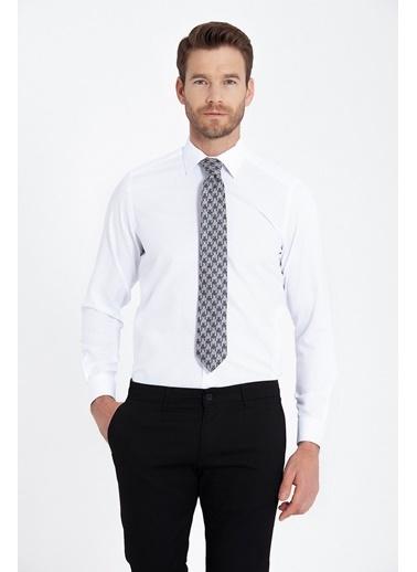 Hatemoğlu Regular Fit Armürlü Gömlek Beyaz